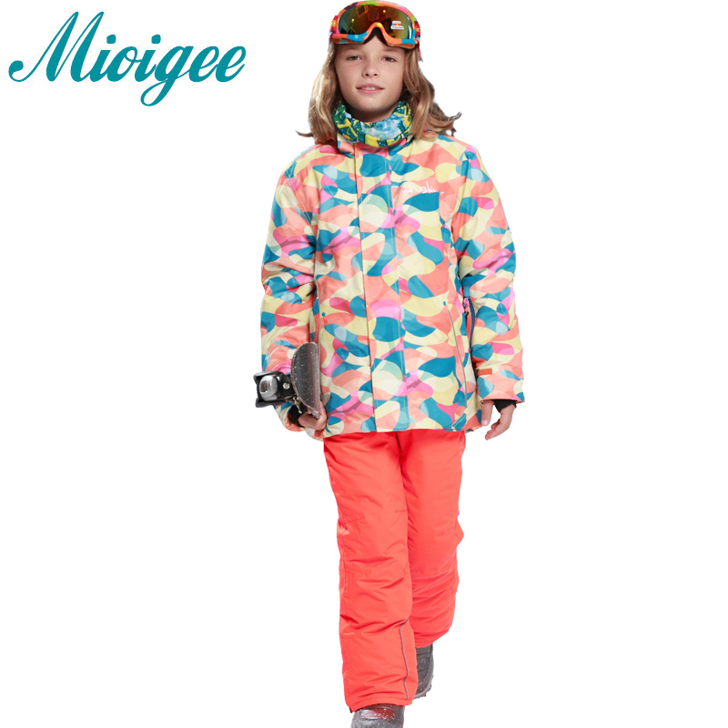 Mioigee 2017 kids winter clothing set for boys Outdoor Waterproof Warm suit skiing jacket+pants children sport sets 3 colors autumn winter boys clothing sets kids jacket pants children sport suits boys clothes set kid sport suit thicken