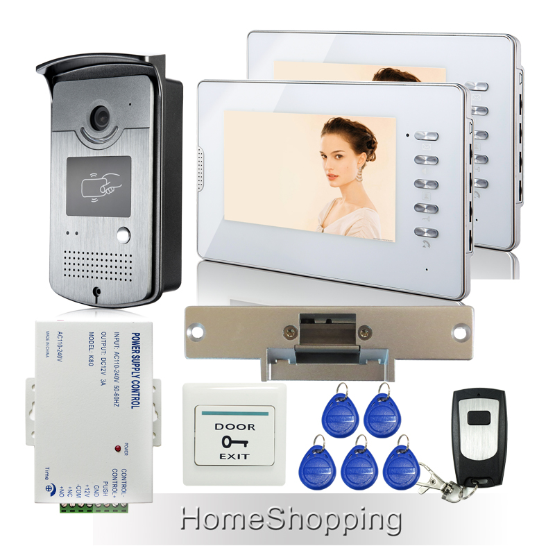 FREE SHIPPING NEW 7 TFT Video Intercom Home Door Phone System 2 White Monitors + 1 RFID Access Camera + Strike Lock Wholesale free shipping brand new home 7 inch video intercom door phone system 2 monitors rfid camera long 250mm strike lock in stock
