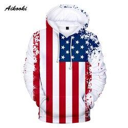Aikooki novos eua hoodies moletom moletom com capuz julho quarto estados unidos américa independência dia com capuz 3d bandeira nacional