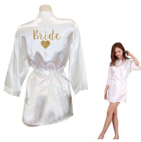 on sale online yet not vulgar check out US $6.99 65% OFF|TEAM BRIDE Robes Team Bride Heart Golden Glitter Print  Kimono Robes Satin Bridal Party Robe Bride Team Wedding Gift-in Robes from  ...