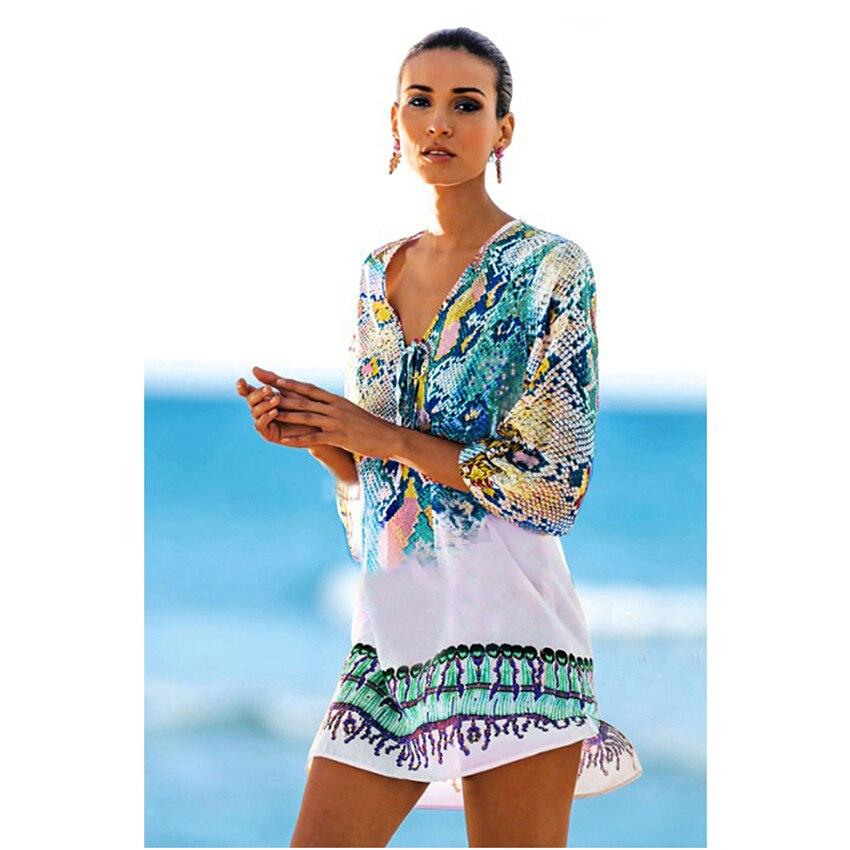 2c3d397dd8c Women Beach Coverup Vintage Half Sleeve Serpentine Pattern Irregular ...