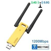 Беспроводной Wi-Fi адаптер 1200 Мбит/с двухдиапазонный 5 ГГц 2,4 ГГц адаптер 802.11ac RTL8812BU чипсет Антенна Dongle Mini USB сетевой карты PC