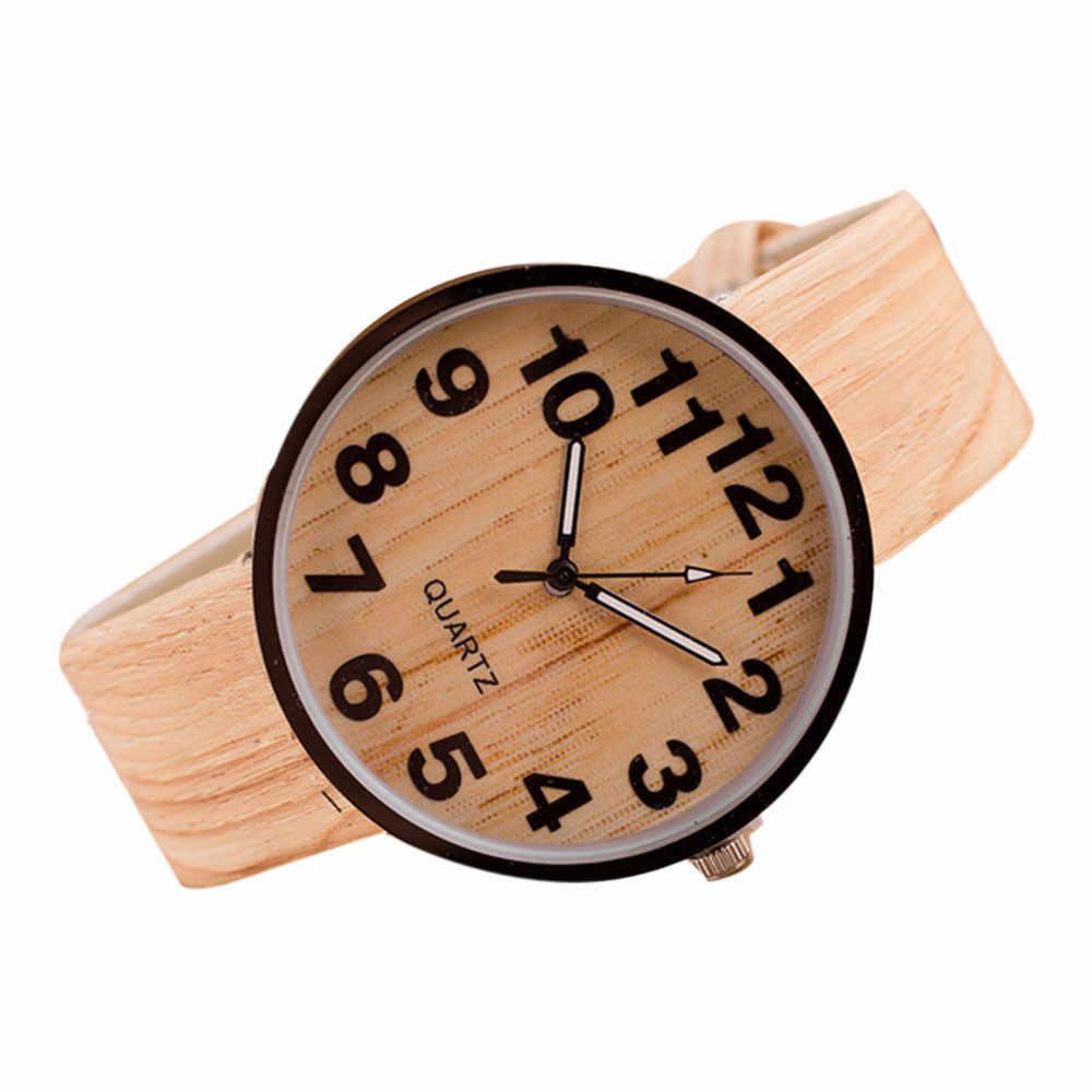 Stil ahşap tahıl deri quartz saat kadın elbise kol saatleri erkekler izle