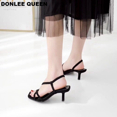 DONLEE QUEEN Black Gladiator Sandals Summer Office High Heels Shoes Woman Ankle Strap Sandal For Party Shoes Women Casual Slides Multan