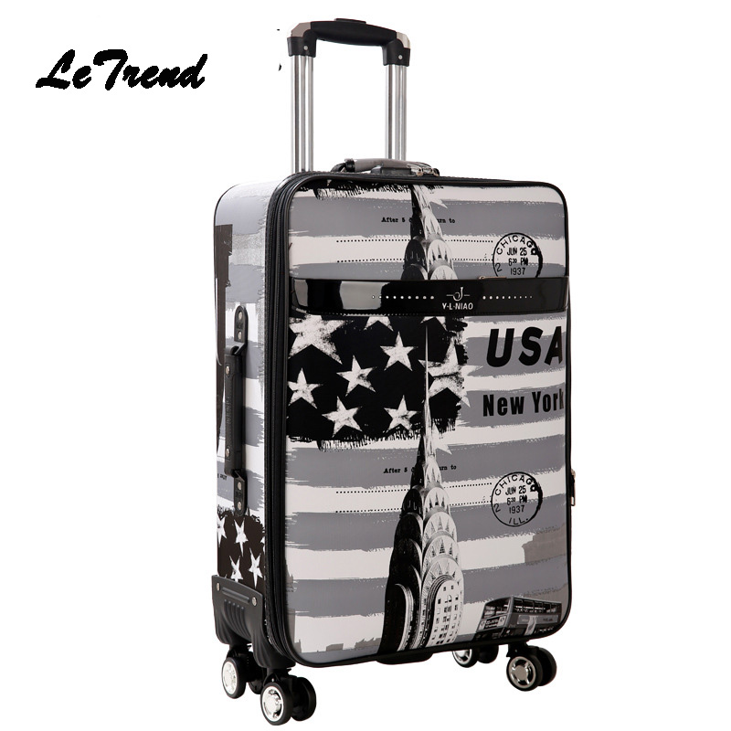 LeTrend Anglo-American Style Rolling Luggage Spinner Carry On Travel Duffle Suitcase Wheel Cabin Trolley Case Women School Bag universal uheels trolley travel suitcase double shoulder backpack bag with rolling multilayer school bag commercial luggage