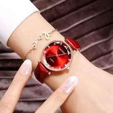 2019Fashion Red Womens Watches Luxury Crystal Women Elegant Quartz Wristwatch Pu Leather Dress Watch Gifts Clock Relojes Mujer