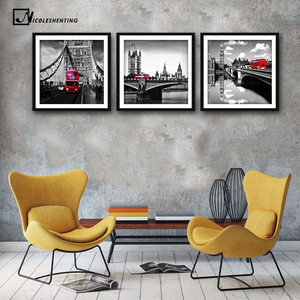 ᑐlondon Tower Bridge Rouge Bus Affiche Minimaliste Toile Peinture