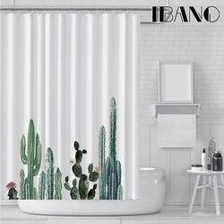Cortina de ducha de Cactus Tropical IBANO cortina de baño de tela de poliéster impermeable para decorar el baño con ganchos de plástico de 12 piezas