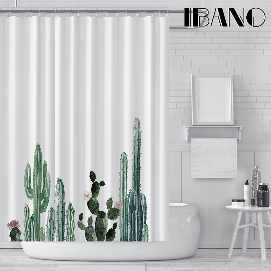 IBANO Tropical Cactus Shower Curtain Waterproof Polyester Fabric Bath For The Bathroom Decorate With 12pcs Plastic Hooks