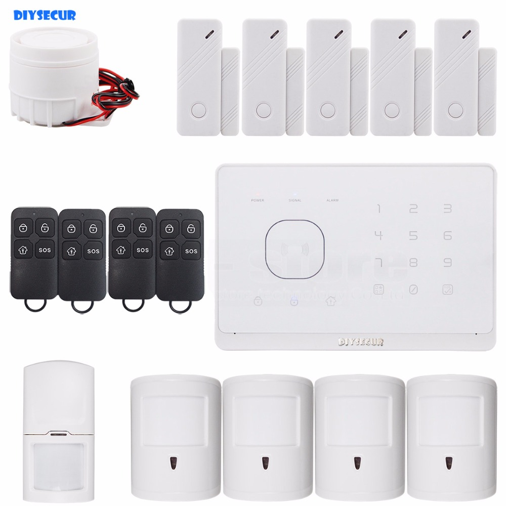 DIYSECUR Application Controlled Wireless GSM Home Burglar Alarm System, Pet Friendly PIR Detector, RFID Card