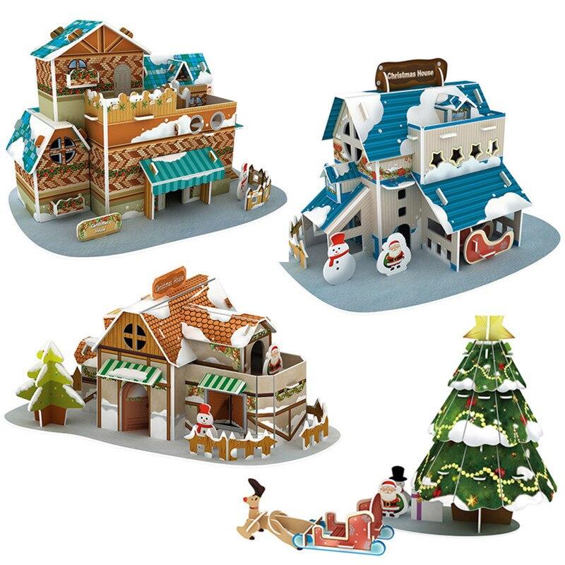 3D Jigsaw Puzzle City Snow House Santa Claus Xmas Christmas Tree Construction Brick Toys Scale Models Sets Building Toys