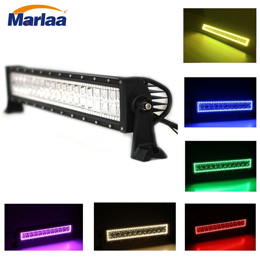 22 inch RGB Halo Ring Color Changing 120w Light Bar Led Work Light with Remote Control for SUV Offroad truck Double Row Led Bar