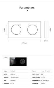 Image 2 - Wallpad L6 Interruptor de pared de vidrio templado, 1 entrada y 1 vía, 2 vías, con enchufe de pared de la Unión Europea, toma de corriente alemana, diseño redondo de 16A