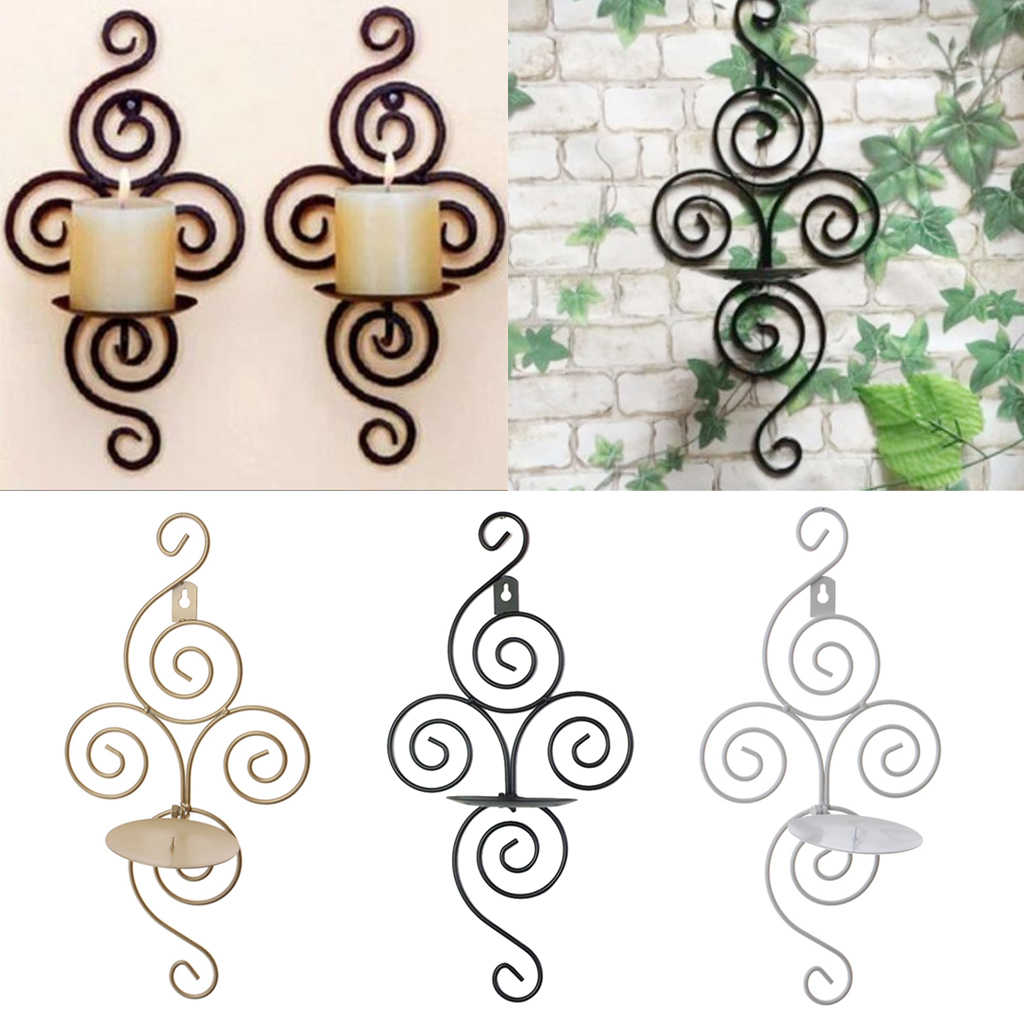 Iron Wall Hanging Sconces Vintage Candlestick Candle Holder Party Wedding Decor