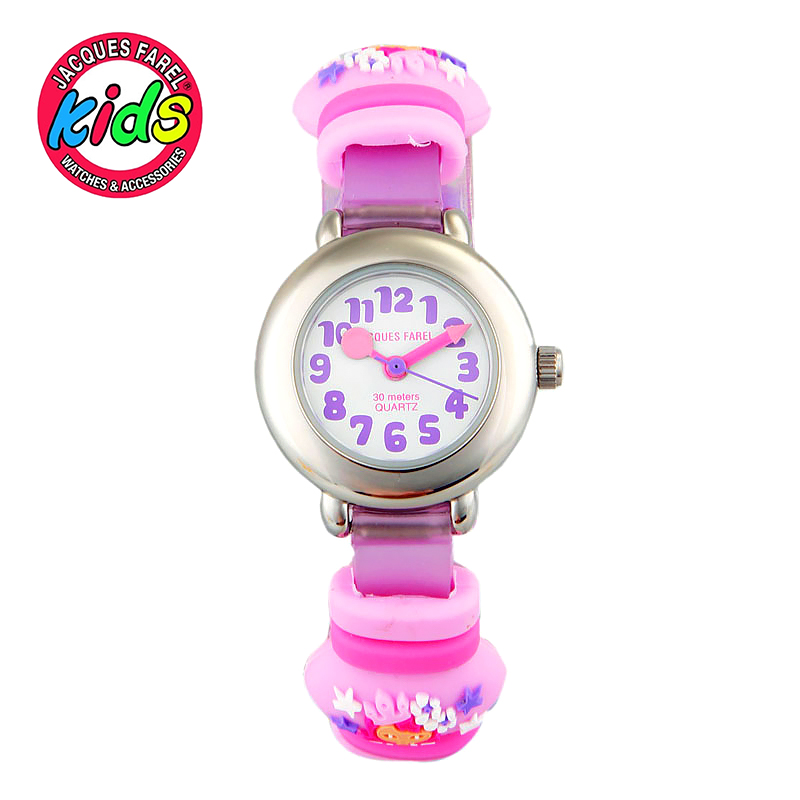 JACQUES FAREL Kids Children watches fashion cute simple water resisitant Quartz Wristwatches Pink Flower clock Girl