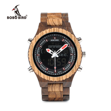 BOBO BIRD Antique Mixed Wooden Watches Multifunctional Mens Wristwatch with Night Light and Week Display in Wooden Gift Box