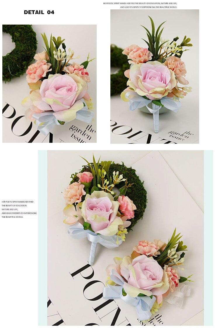 bridesmaid bracelet wedding corsage flowers roses artificial  (11)
