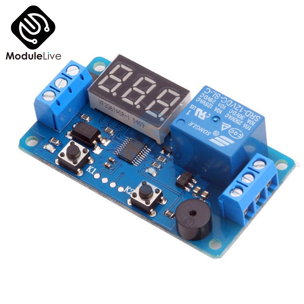 Digital LED Display Time Delay Relay Module Board DC 12V Control Programmable Timer Switch Trigger PLC Automation Car Buzzer dc 12v led display digital delay timer control switch module plc