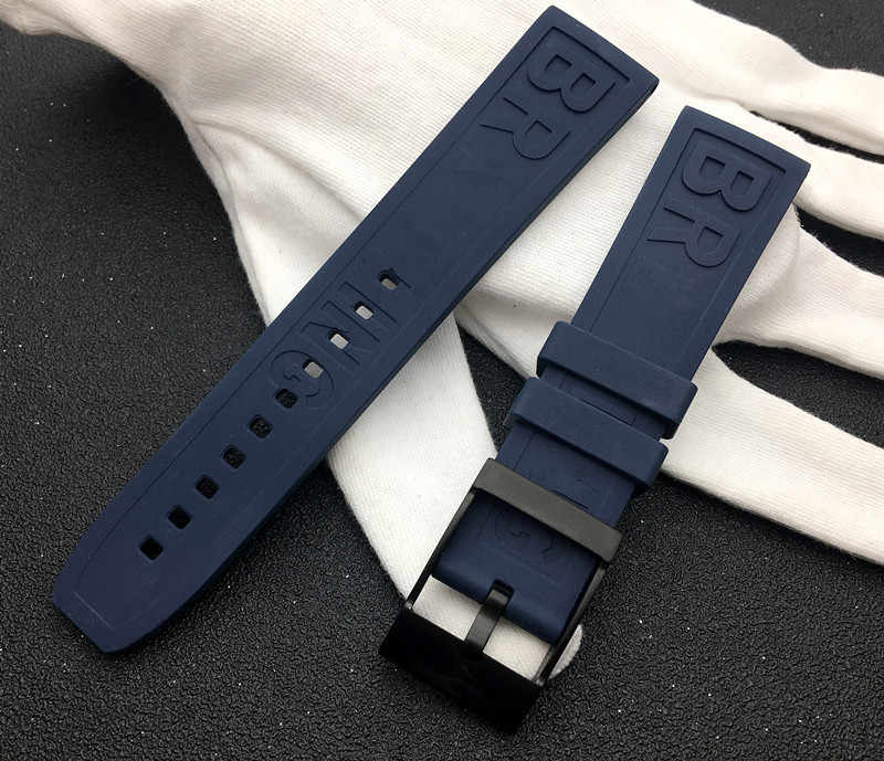 Dark Blue Quality Caoutchouc Rubber silicone watch band 22mm Watchband Bracelet For navitimer/avenger/Breitling strap logo on