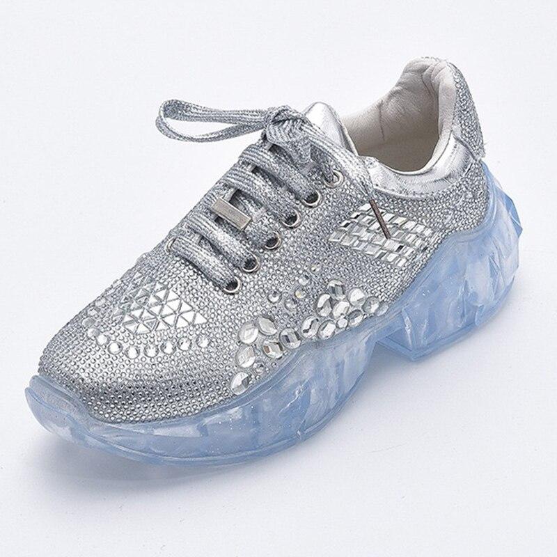 Glitter Crystal Sneakers 2019 Creepers Rhinestone Platform Sneakers Women  Sneakers Vulcanize Casual Shoes Woman Basket femme 2dd98285cd1a