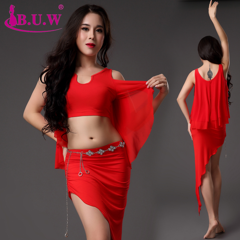 2018 New B.U.W Branded Women's Belly Dance Set Costume Belly Dancing Clothes Bellydance Top+skirt Suits 8246