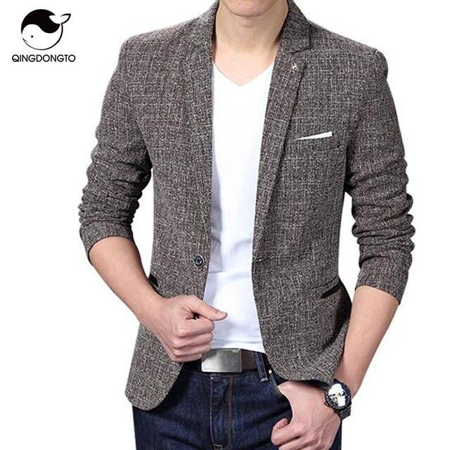 Blazer Men 2017 Men'S Fashion Brand Solid Linen Personality Pocket Male Single-Breasted Single Button Terno Masculino 3XL FIWYRN