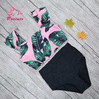 Pacento 2017 New Green Palm Leaf Bikini High Waisted Swimwear Women Plus Size Swimsuit Female XL