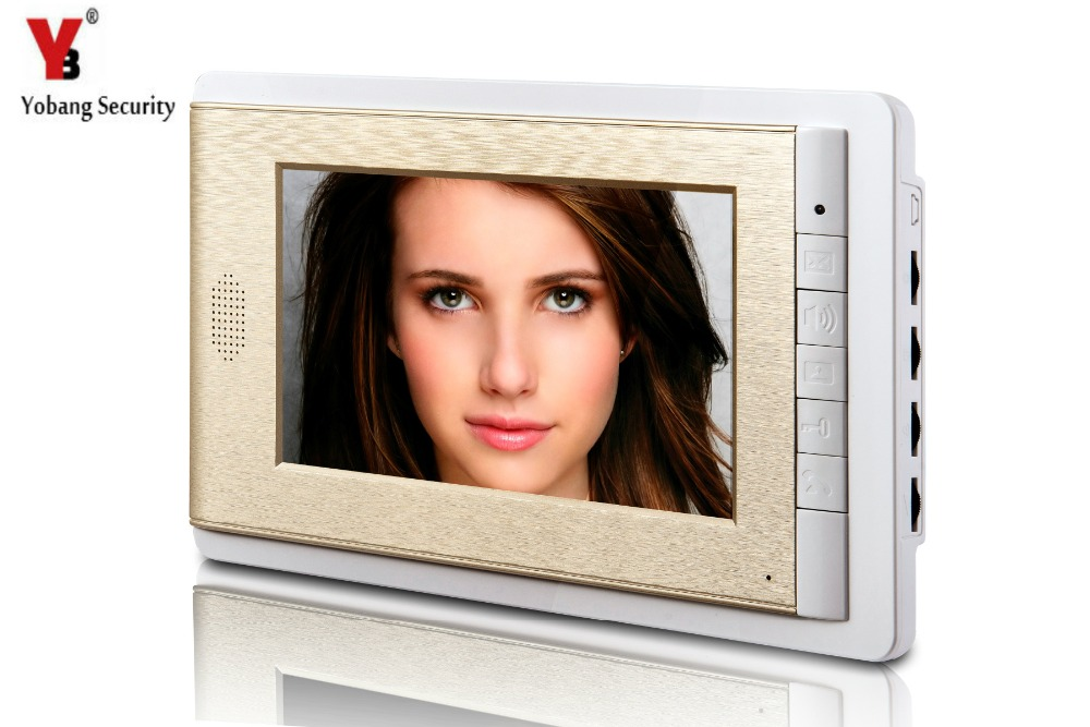 YobangSecurity Golden 7 Inch Color TFT LCD Screen Monitor Wired Video Door Entry System Video Door Phone Intercoms