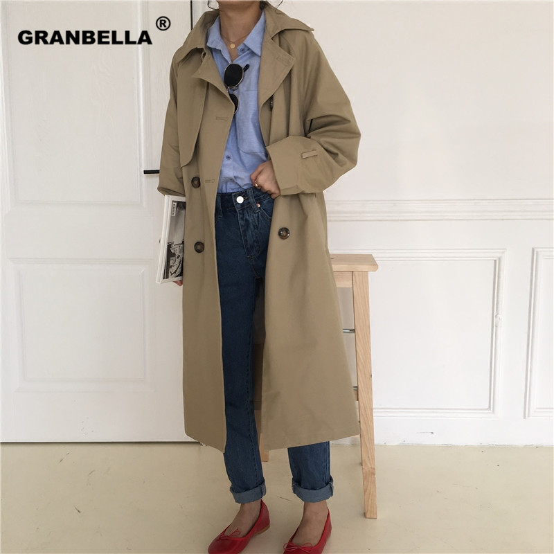 women casual solid color double breasted outwear sashes office coat chic epaulet design long   trench   female loose windbreaker