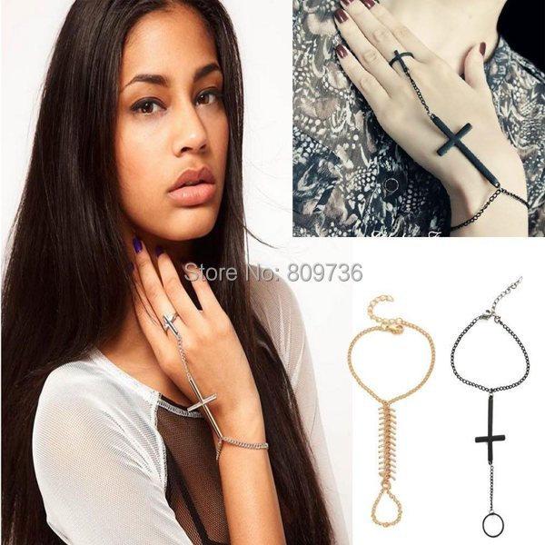 1PC New Fashion Charm Gothic Retro Slave Chain Bone Cross Finger Link Bracelet Punk Bangle cuff Drop Free
