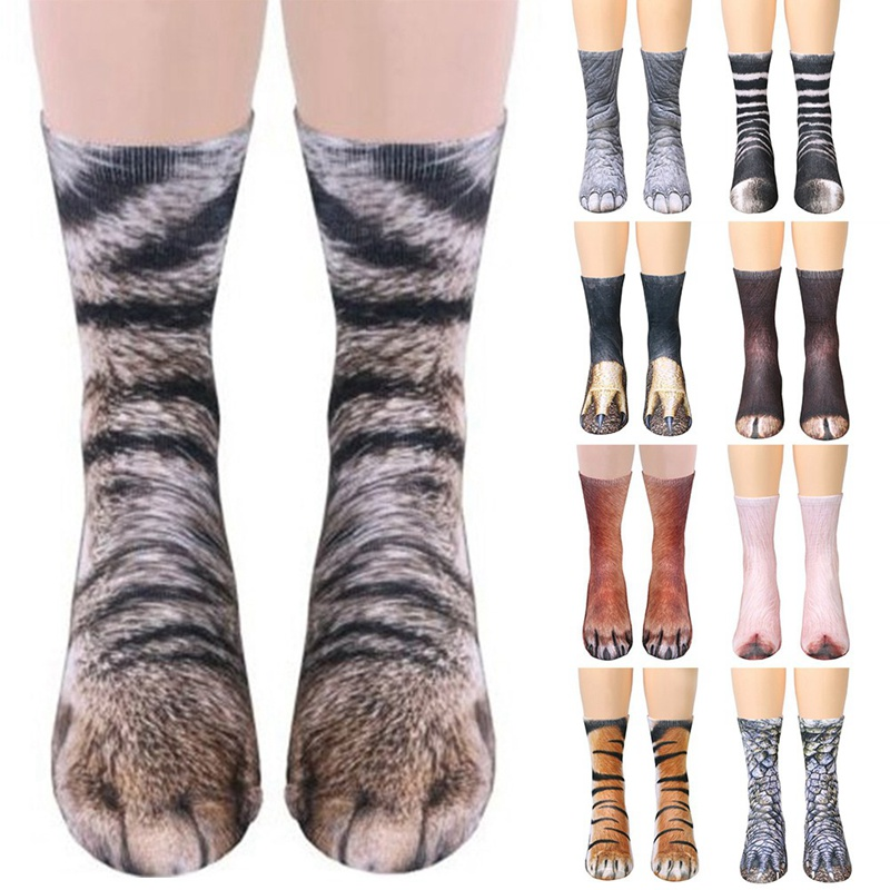 New Hot Creative 3D Animals Paw Printed Baby Socks Cotton Soft Casual Cute Cartoon Children Dog Horse Zebra Pig Cat Paw Socks