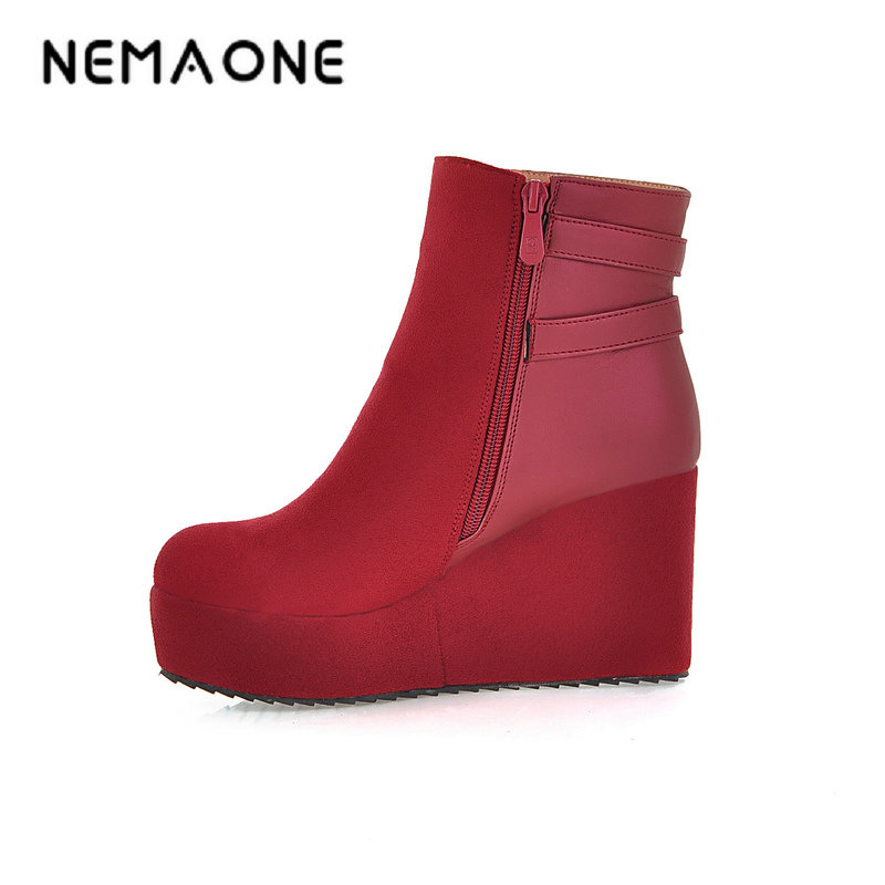 все цены на NEMAONE New high wedges heel women ankle Boots western style autumn winter boots women boots casual shoes woman large size 34-43