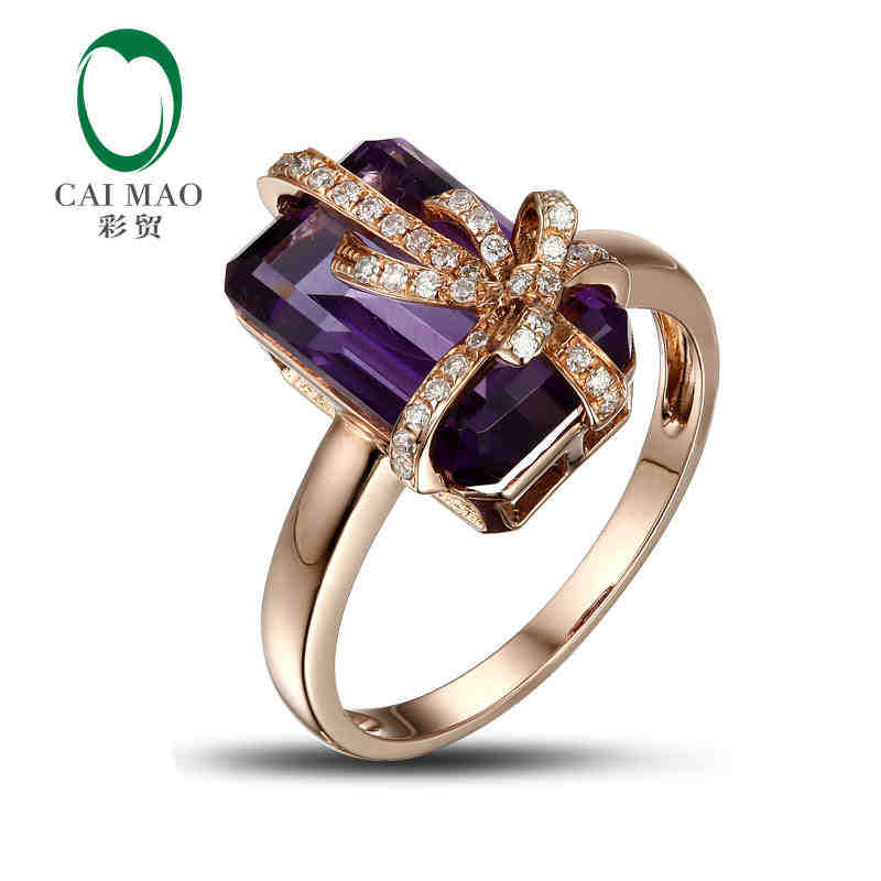 14K Rose Gold 5 35ct Natural amethyst 0 18ct Diamond Engagement Gemstone Ring Caimao Jewelry