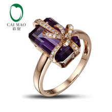 14K Rose Gold 5.35ct Natural amethyst & 0.18ct Diamond Engagement Gemstone Ring Caimao Jewelry