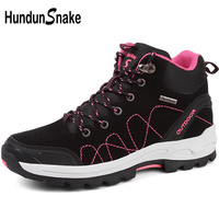 Hundunsnake High Hiking Boots Mountain Woman Trekking Boots Black Sneakers For Women Hiking Shoes Female Outdoor Shoes 2018 T537