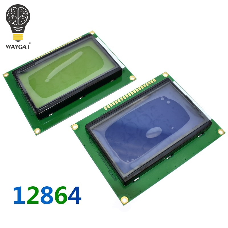 цена на WAVGAT 12864 128x64 Dots Graphic Blue Color Backlight LCD Display Module for arduino raspberry pi