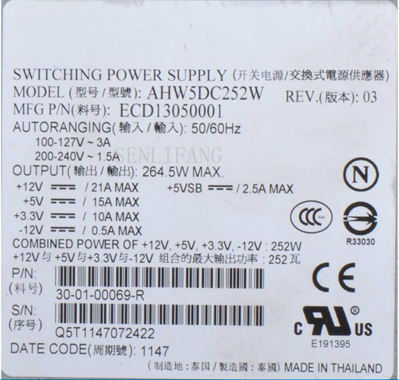 Free Shipping Server Power Supply For AHW5DC252W 1U 252W Fully Tested