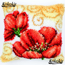 Cross Stitch Kit Bordir Menjahit Set Merajut Karpet Benang Patchwork Sarung Bantal Kait Bantal Diy Karpet Bunga Karpet(China)