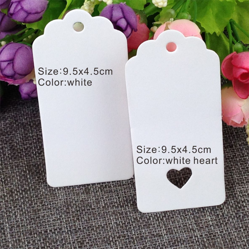 200pcs White Paper Tags 9.5x4.5cm Favour Lolly Heart Hollow Wedding Party Gift Bag Name Label Accept  Customized Order
