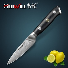 Huiwill Japanese VG10 Damascus carbon steel kitchen 3.5″Paring Fruit Peeling paring knife with Mosaic Rivet