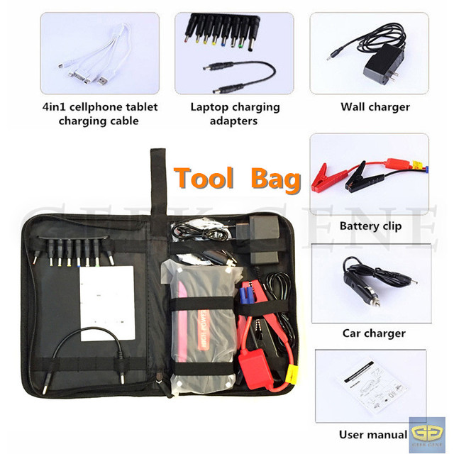 Professional 12000mAh Car Jump Starter Portable 4USB Power Bank Mini 600A Peak 12V Car Battery Charger SOS Light Free Ship