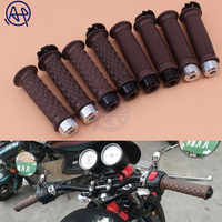 Bar End Caps+Vintage 7/8'' 22mm Brown Diamond Open Throttle Bar Hand Grip Handlebar for Honda Suzuki Royal Cafe Racer Bobber