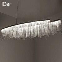 Modern designer decorative chandelier Nordic tassel restaurant luxury hotel engineering chain living room art lighting