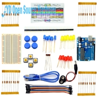 Starter Kit for Arduino Breadboard USB Cable LED LDR Resistance 40 Pin Header Battery Dupont Cables Holder for UNO R3