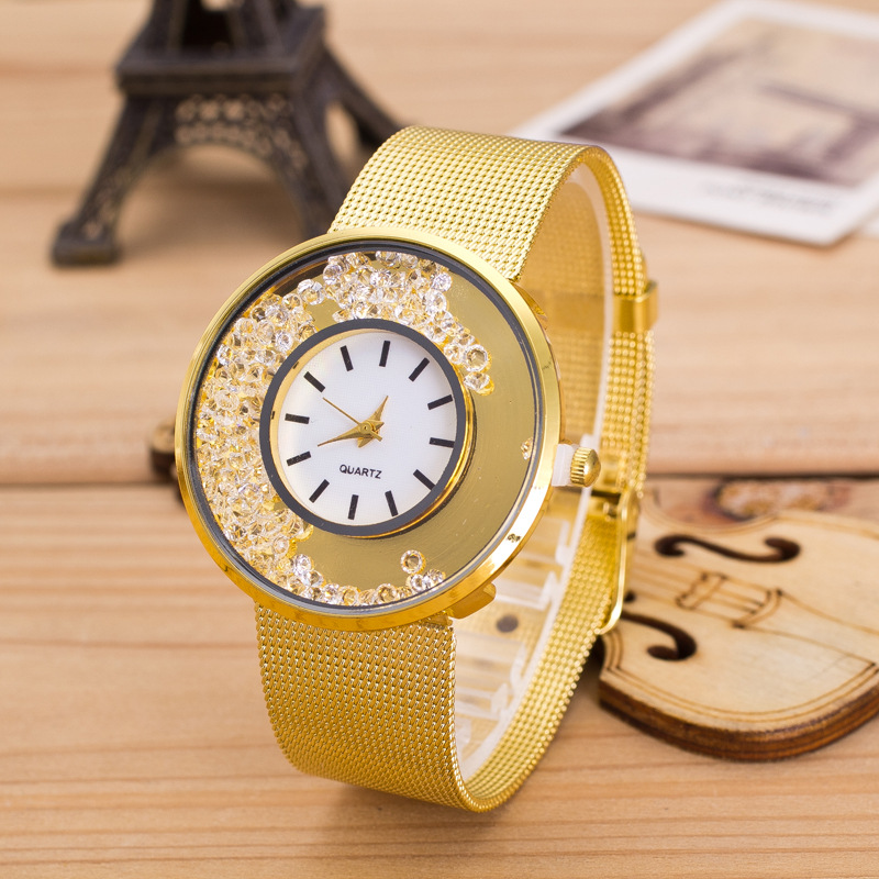 New Brand Gold Geneva Crystal Casual Quartz Watch Women Metal Mesh Stainless Steel Dress Watches Relogio Feminino Clock Hot Sale 2017 new brand silver crystal casual quartz h watch women metal mesh stainless steel dress watches relogio feminino clock hot