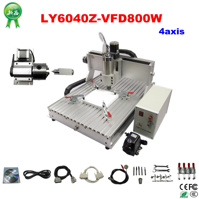 Free shipping 4 axis cnc router engraver machine 6040 3d cnc wood milling machine for metal stone sculpture with 800w Power eur free tax cnc router lathe machine 6040 5axis wood milling and drilling machine for woodenworking