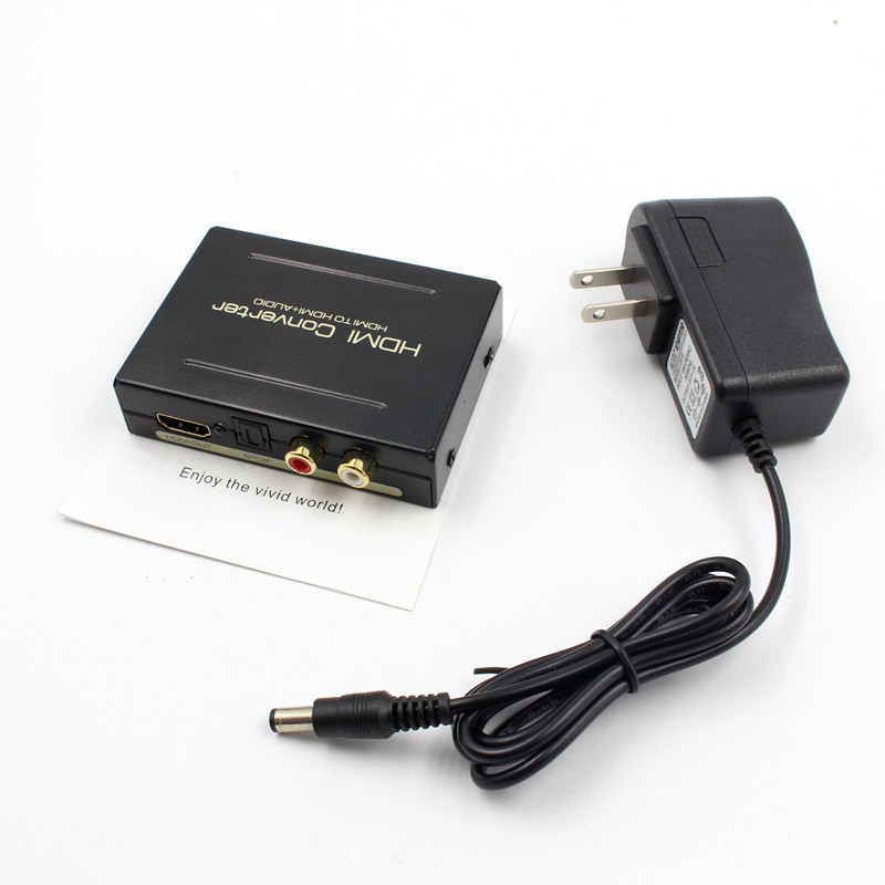 HDMI To HDMI Optical + SPDIF + RCA L/R Extractor Converter Audio Splitter Adapter 1080P EU US UK AU Plug AC Power Adapter