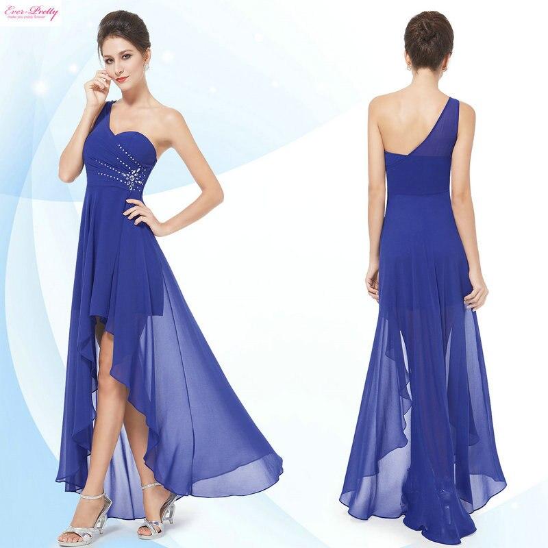 Сексуальная одно плечо шифон мода привет низкий вечерние платья HE08100CO больше цвета мода свадебные платья - Цвет: Sapphire Blue