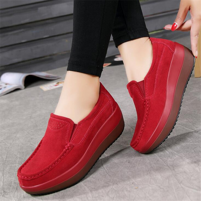Été Cuir Printemps Red Chaussures 2018 black Femmes Plate as Sneakers Appartements forme Talons Picture Creepers blue Casual Daim En Glissement Sur Mocassins g5wwqAz