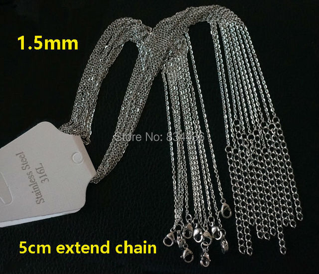 Free Shipping 1.2m 1.5mm 2mm cross thin chains 5cm extender 316L stainless steel necklace women men jewelry small necklace 50pcs